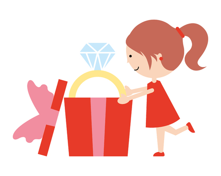 cute girl gift with ring happy valentines day vector illustration
