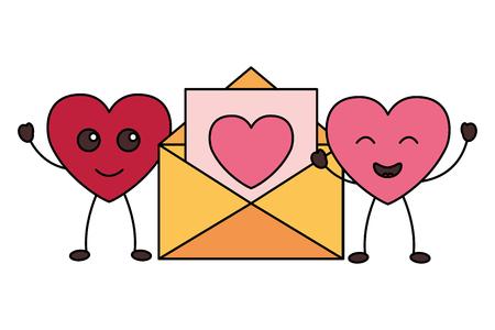 Kawaii pareja corazones correo feliz día de San Valentín ilustración vectorial Ilustración de vector
