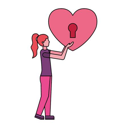 woman holding padlock heart happy valentines day vector illustration