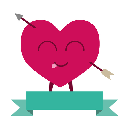heart pierced arrow ribbon happy valentines day vector illustration