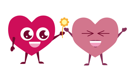 couple hearts flower happy valentines day vector illustration