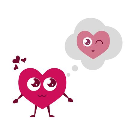 heart thinking love happy valentines day vector illustration