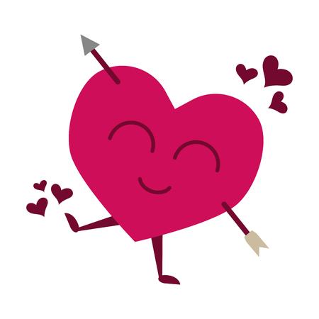 heart pierced arrow happy valentines day vector illustration