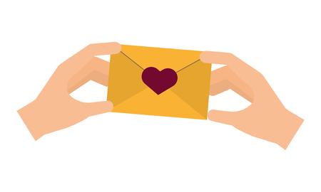 Hände mit Postumschlag glückliche Valentinstagvektorillustration
