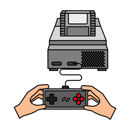 hands with controller console video game vector illustration 스톡 콘텐츠 - 126307199