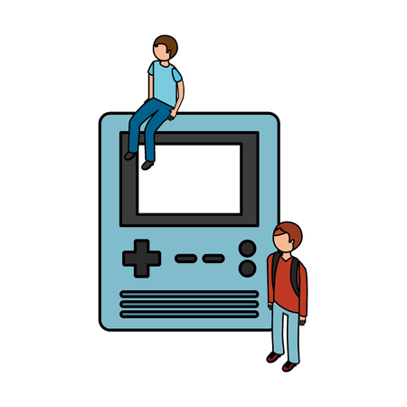 people with portable console video game vector illustration