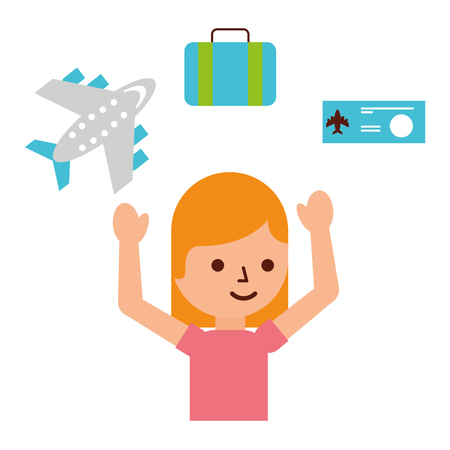 woman tourist airplane ticket bag travel vacations vector illustration
