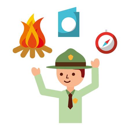 man explorer campfire compass passport vacations vector illustration Illustration