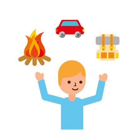 man tourist campfire bag car travel vacations vector illustration
