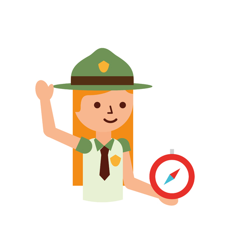 woman explorer with compass vacations vector illustration