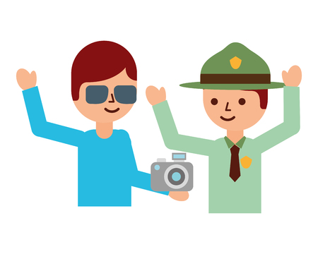 man explorer and tourist with camera travel vacations vector illustration