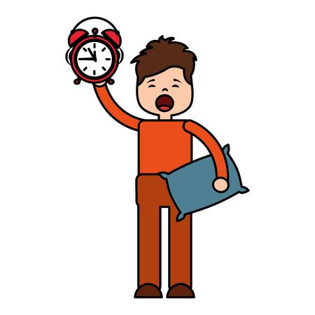 man clock pillow morning wake up vector illustration