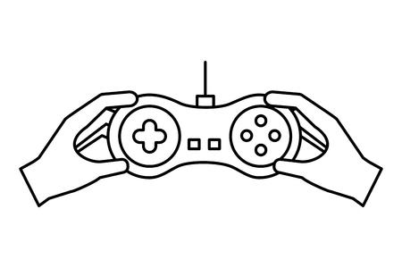 hands holding control video game vector illustration outline