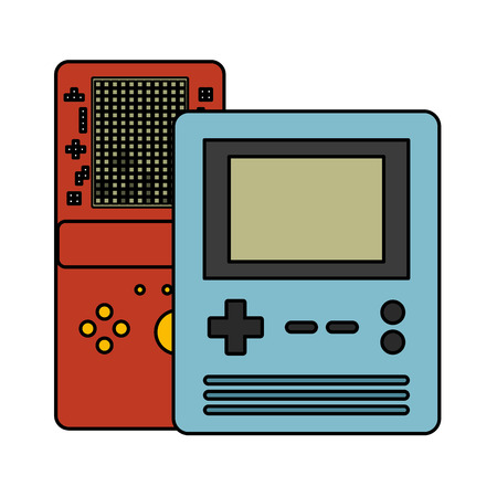 portable console devices video game vector illustration Çizim