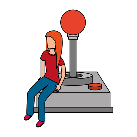 woman with joystick video game vector illustration Banco de Imagens - 126307249