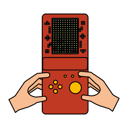 hands with portable console video game vector illustration Ilustração