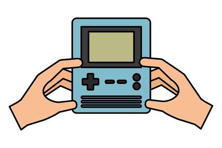 hands with console video game vector illustration
