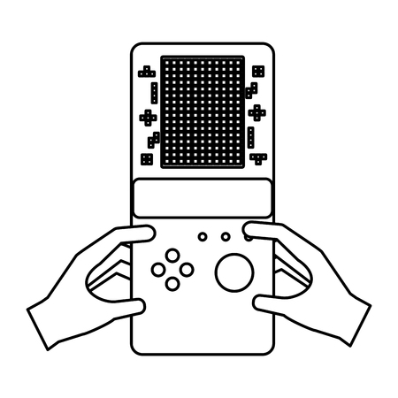 hands with portable console video game vector illustration outline