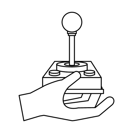 hand with joystick video game vector illustration outline Illustration