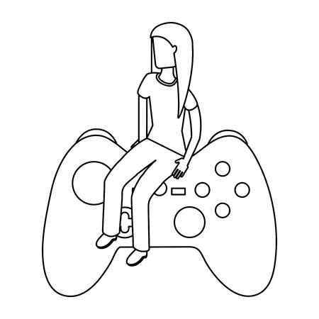 girl sitting on control video game vector illustration outline 向量圖像