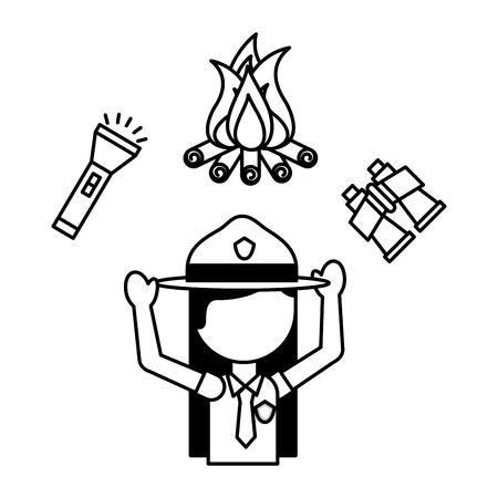 woman explorer flashlight campfire binoculars vacations vector illustration outline