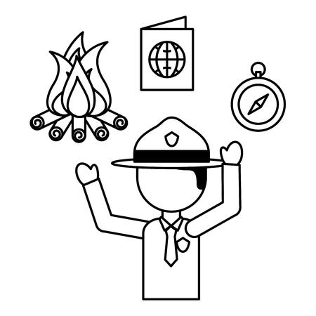 man explorer campfire compass passport vacations vector illustration outline Illustration