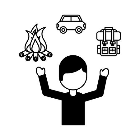 man tourist campfire bag car travel vacations vector illustration outline Illustration