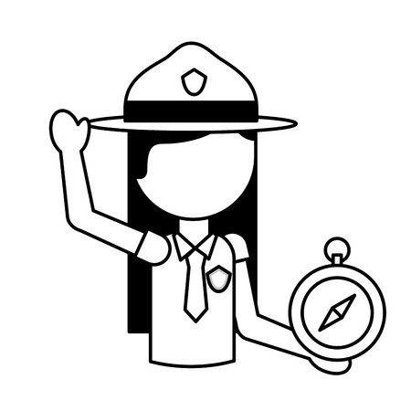 woman explorer with compass vacations vector illustration outline