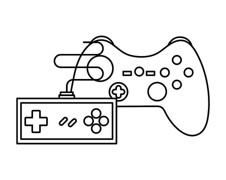 two contoller device video game vector illustration outline