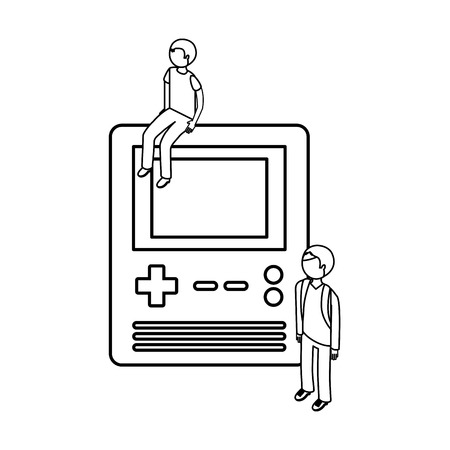 people with portable console video game vector illustration outline 向量圖像