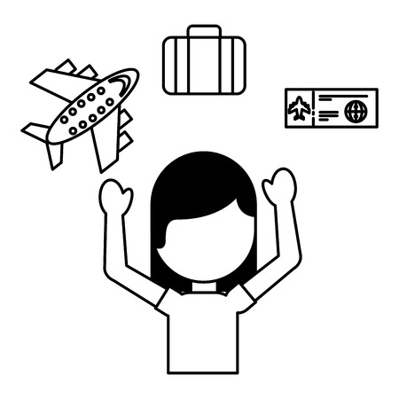 woman tourist airplane ticket bag travel vacations vector illustration outline  イラスト・ベクター素材