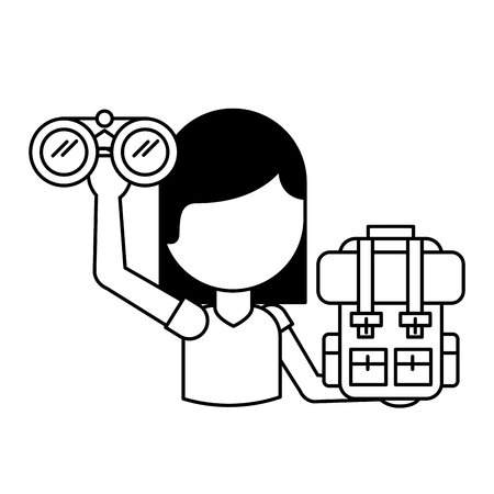 woman tourist with binoculars bag travel vacations vector illustration outline