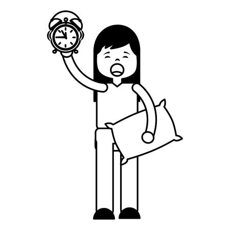 girl clock pillow morning wake up vector illustration outline Illustration