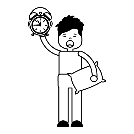 man clock pillow morning wake up vector illustration outline