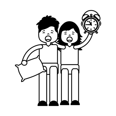 couple clock pillow morning wake up vector illustration outline Archivio Fotografico - 126307294