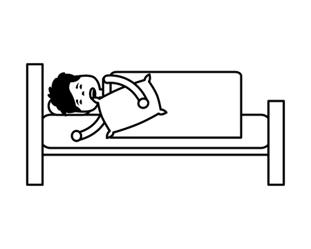man sleeping in bed with pillow vector illustration outline Illustration