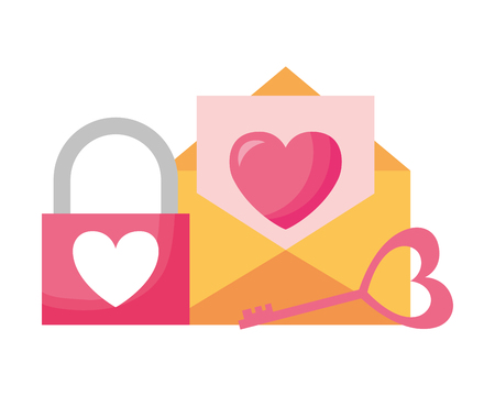 mail padlock key happy valentines day vector illustration 向量圖像
