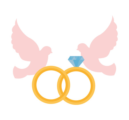 dove and rings happy valentines day vector illustration