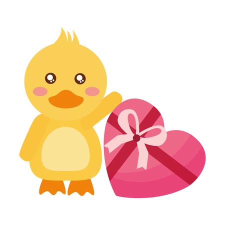 Lindo pato con regalo feliz día de San Valentín ilustración vectorial