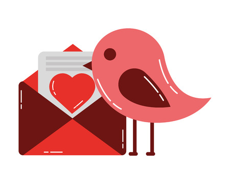 bird and mail love happy valentines day vector illustration 일러스트