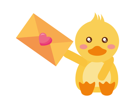 cute duck and mail happy valentines day vector illustration Foto de archivo - 115132119