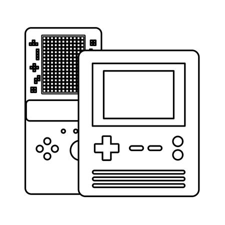 portable console devices video game vector illustration outline