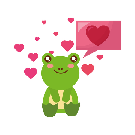 cute frog and speech bubble hearts happy valentines day vector illustration