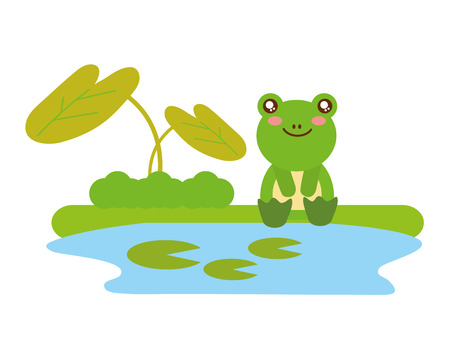 cute frog sitting in the lake vector illustration