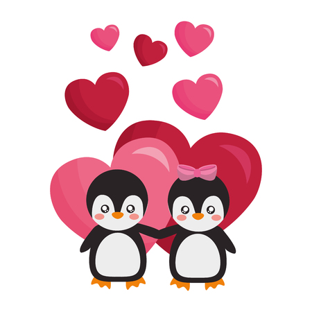 cute couple penguins hearts valentines day vector illustration Vectores