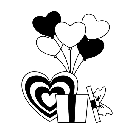 gift heart with balloons happy valentines day vector illustration Illustration