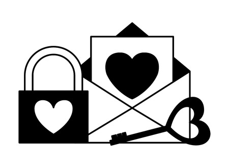 mail padlock key happy valentines day vector illustration Illustration