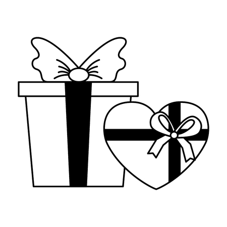 gift box and heart happy valentines day vector illustration