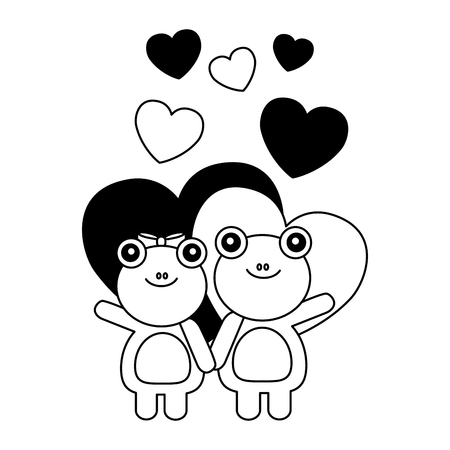 cute couple frog hearts valentines day vector illustration