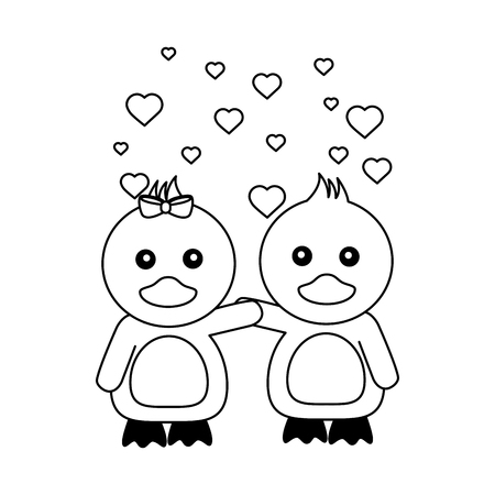 cute couple ducks hearts valentines day vector illustration Reklamní fotografie - 126307370